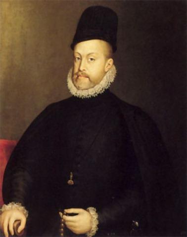 Felipe II, con el rosario en la mano