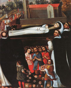 Entierro de Santa Rosa, anónimo, escuela cusqueña, s. XVIII — Monasterio de Santa Rosa de las Monjas, Lima
