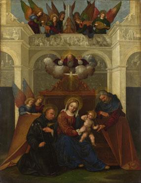 Imagen de la Sagrada Familia con San Nicolás de Tolentino